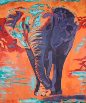 Elefant of artist Sabine May as framed image