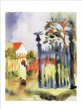 Gartentor, 1914 of artist August Macke, Bed, Home, Crop, Gate, Plant, House, Plants, Floral