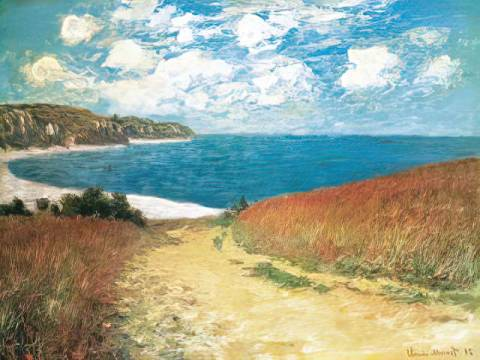 Meadow Road to Pourville, 1882 of artist Claude Monet as framed image