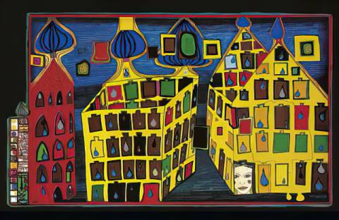Yellow houses - it hurts to wait with love if love is somewehere else of artist Friedensreich Hundertwasser, All, Who, Too, Stay, Else, Well, Wait, Dear
