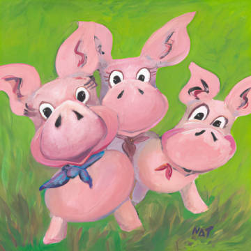 The Three Little Pigs of artist NAT as framed image