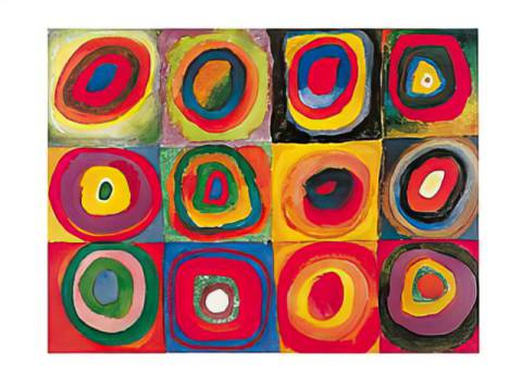 Colour Study: Squares with Concentric Circles of artist Wassily Kandinsky, Etude, Forms, Round, Colour, Circles, Squares, Concentric