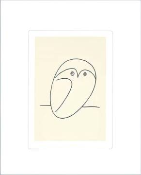 The Owl of artist Pablo Picasso as framed image