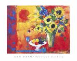 Ann Oram - Red Still Life with Sunflowers