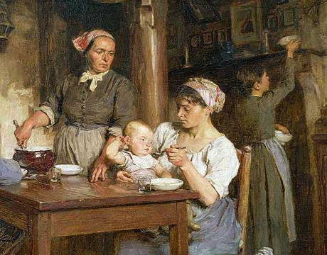 Detail of The Midday Meal, detail of feeding the baby, of artist Léon-Augustin Lhermitte, Poor, Family, Fathers, Mothers, Poverty, Kitchen, Children
