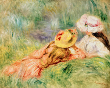 Young Girls on the River Bank of artist Pierre Auguste Renoir, Hats, Summer, Renoir, Talking, Friends, Impressionist