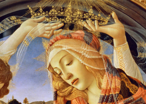 Detail of The Madonna of the Magnificat, detail of the Virgin's face and crown, 1482 von Künstler Sandro Botticelli, Von, Haar, Weib, Teil, Stars, Zenit, Krone, Miene