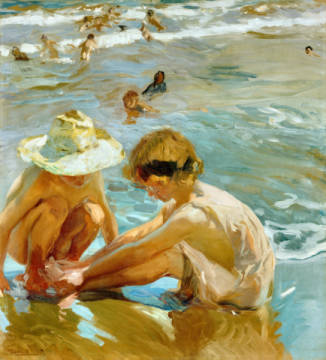 The Wounded Foot, 1909 of artist Joaquin Sorolla y Bastida, Sea, Oil, Hat, Sand, Water, Beach, Child, Sunny