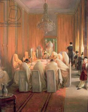 The Rothschild Family at Prayer of artist Moritz Daniel Oppenheim, Jew, German, Scenes, Candle, Jewish, Clergy, Praying, Judaism