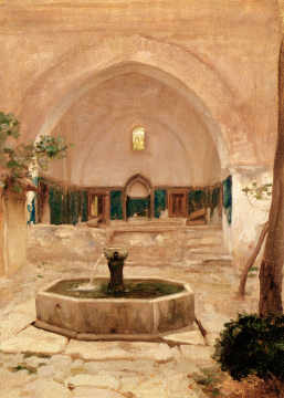 Ruined Mosque, Broussai, 1867 of artist Lord Frederick Leighton, Well, East, Arch, Middle, Islamic, Courtyard, Orientalist
