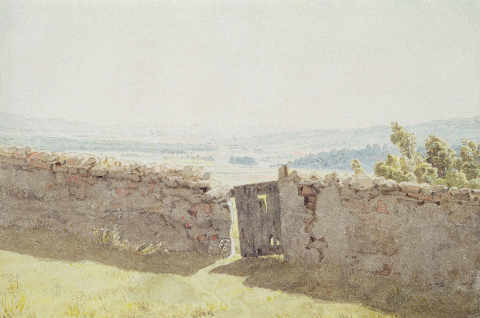 Gate in the Garden Wall of artist Caspar David Friedrich, 19th, 18th, Paper, Stone, Field, Broken, German, Panorama