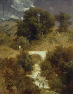 Roman Landscape with a Bridge, 1863 of artist Arnold Böcklin, Oil, 18th, Arch, 19th, Italy, Rocky, Rural, Swiss