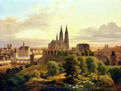 A Medieval Town in 1830, 1830 of artist Carl Georg Adolph Hasenpflug as framed image