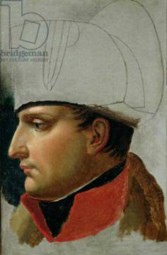 Unfinished Portrait of Napoleon I (1769-1821) formerly attributed to Jacques Louis David (1748-1825) 1808 of artist Anne-Louis Girodet de Roucy-Trioson, Hat, Oil, Wars, Male, Young, Ruler, Rulers, Canvas