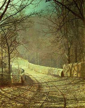 Sunshine through winter trees of artist John Atkinson Grimshaw as framed image