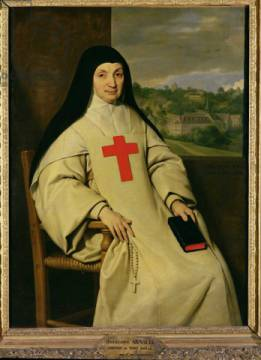Mother Angelique Arnauld (1591-1661) Abbess of Port-Royal, 1654 of artist Philippe de Champaigne, Oil, Nun, Red, Pious, Popes, Cross, Habit, Bible
