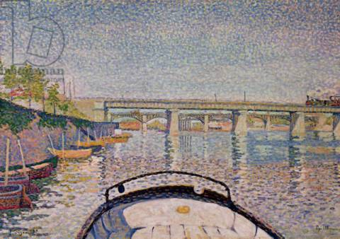 The Bridge at Asnieres, 1888 of artist Paul Signac as framed image