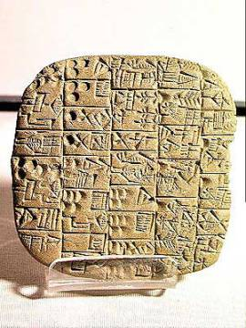 Tablet with cuneiform script detailing a contract for selling a field and a house, from Shuruppak, c.2600 BC von Künstler Mesopotamian als gerahmtes Bild