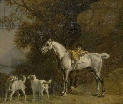 Huntsman with a Grey Hunter and Two Foxhounds: details from the Goodwood 'Hunting' picture, 1760-61 of artist George Townley Stubbs, Oil, Fox, Dog, Duke, Four, Horse, Paper, Hound