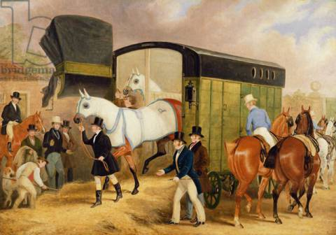 The Derby Pets: The Arrival, 1842 of artist James Pollard, Oil, Hay, Race, Owner, Horse, Sports, Runner, Racing