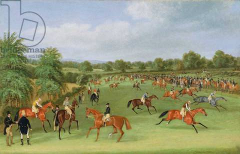 Epsom Races: Preparing to Start of artist James Pollard, Crt, Oil, Race, Horse, Sport, Downs, Canvas, Jockey