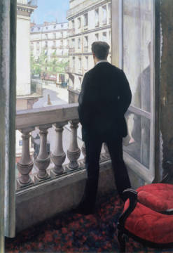 Man at the Window. 1875 of artist Gustave Caillebotte, #235, Back, Male, Paris, Woman, Scene, Street, Viewed