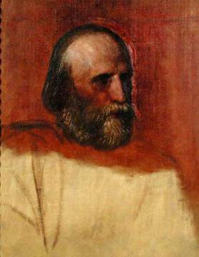 Portrait of Giuseppe Garibaldi (1802-82), 1864 of artist George Frederick Watts, Male, Italy, Study, Sketch, Figures, Italian, Soldier, Redshirt