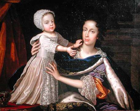 Portrait of Queen Mary of Modena (1658-1718) with Prince James Stuart (1688-1766), 1692-93 von Künstler Benedetto Gennari der Jüngere, Pelz, Samt, Baby, Groß, Kind, Mütze, Borte, Autor