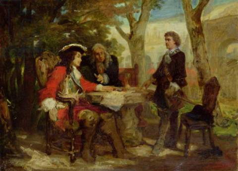 Meeting between Jean Cavalier (1681-1740) and Claude Louis Hector (1653-1734) Duke of Villars von Künstler Jules Salles-Wagner als gerahmtes Bild