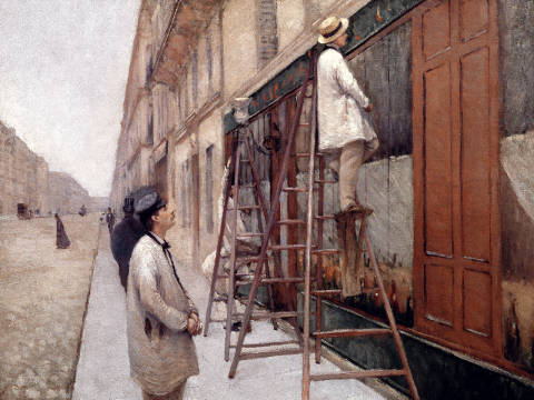 The Painters, 1877 of artist Gustave Caillebotte, Shop, Scene, Facade, Street, Ladder, Worker, Painter, Painting