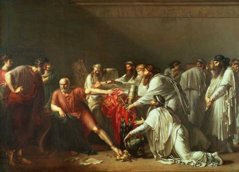 Hippocrates (c.460-c.377 BC) Refusing the Gifts of Artaxerxes I (d.425 BC) 1792 of artist Anne-Louis Girodet de Roucy-Trioson, Oil, Gift, Male, India, Greek, Canvas, Father, Rulers