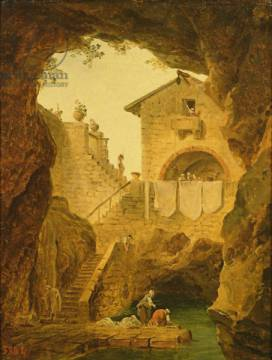 Washerwomen. The fountain in the grotto of artist Hubert Robert as framed image