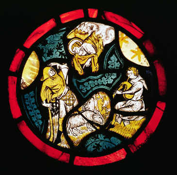 Roundel depicting the Annunciation to the Shepherds of artist English School, New, #79, Holy, Sheep, Music, Glass, Naive, Angel