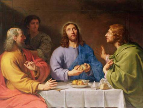 The Supper at Emmaus of artist Philippe de Champaigne, Les, Oil, Life, Meal, Bread, Shock, Feast, Fruit