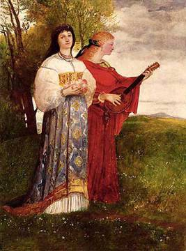 Summer, 1873 of artist Arnold Böcklin, Folk, 19th, Wild, Lute, Women, Scenes, Meadow, Century