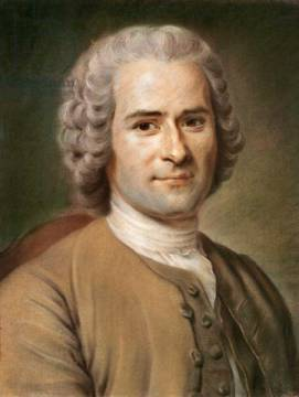 Jean-Jacques Rousseau (1712-78) after 1753 of artist Maurice Quentin de la Tour, Wig, Arts, Male, Poets, World, Paper, People, Pastel