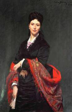 Portrait of Mrs Marie Clerc, 1874 of artist Charles Emile Auguste Carolus-Duran, Glove, Chale, Dress, Shawl, Black, Beauty, Female, Madame