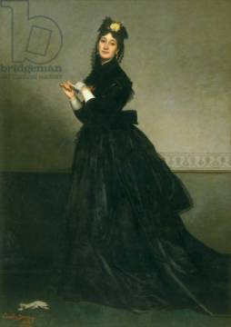 The Woman with the Glove, 1869 of artist Charles Emile Auguste Carolus-Duran, Oil, 19th, 20th, Dame, Wife, Gant, Early, Dress
