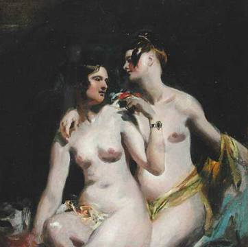 Two Female Nudes of artist William Etty, Nude, Women, Lovers, Embrace, Breasts, Lesbian, Flowers, Garlands