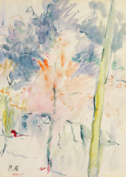 Red Tree in a Wood, 1893 of artist Berthe Morisot as framed image