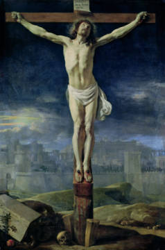 Christ on the Cross, before 1650 of artist Philippe de Champaigne, Oil, New, Pain, Life, Crown, Blood, Skull, Croix
