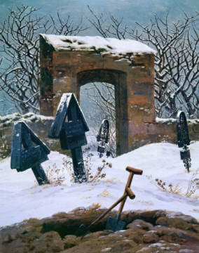 Cemetery in the Snow, 1826 of artist Caspar David Friedrich as framed image