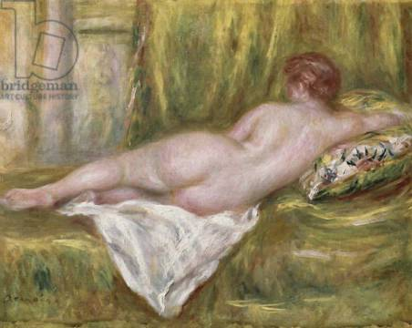 Reclining Nude from the Back, Rest after the Bath, c.1909 of artist Pierre Auguste Renoir, Oil, Down, Woman, Lying, Female, Canvas, French, Renoir