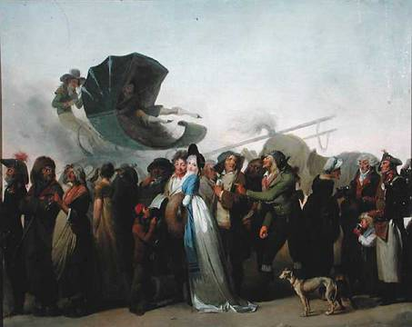 'La Marche Incroyable' 1795 of artist Louis-Léopold Boilly, March, Quasi, Dress, Scene, Crowd, Culottes, Incredible, Caricature