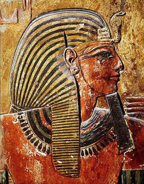 The head of Seti I (r.1294-1279 BC) from the Tomb of Seti, New Kingdom of artist Egyptian 19th Dynasty as framed image