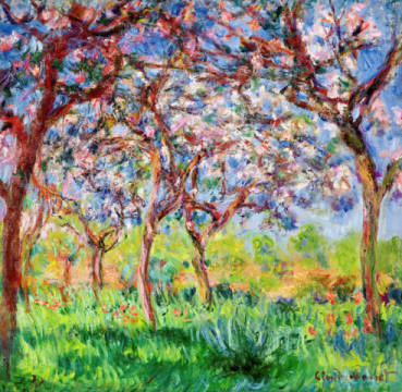 Spring in Giverny, 1903 of artist Claude Monet, Oil, Lot, Yard, 1900, Tree, Grove, Apple, Parks