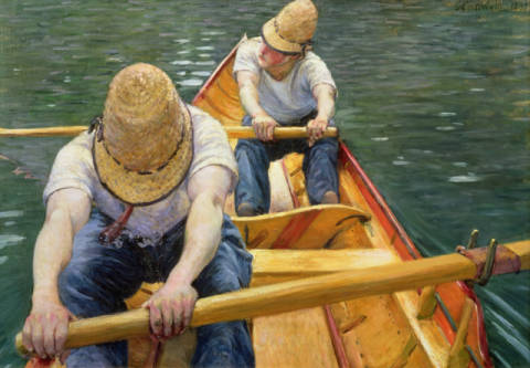 Boaters Rowing on the Yerres, 1877 of artist Gustave Caillebotte, Time, -oil, World, Ramer, 116cm, Rowing, French, Summer
