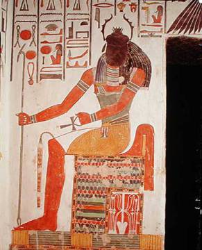 The god, Khepri, from the Tomb of Nefertari, New Kingdom of artist Egyptian 19th Dynasty, Dieu, Ankh, Seated, Period, Soleil, Beetle, Sceptre, Creator
