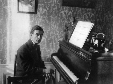 Maurice Ravel (1875-1937) of artist French Photographer, Tie, Bow, His, Male, Piano, Seated, Basque, French