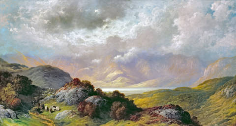 Scottish Landscape of artist Gustave Dore, Oil, Lake, Loch, Canvas, French, Cloudy, Rugged, Decosse